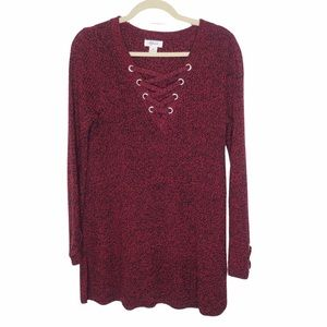 NWT Style & Co Red/Black Knit Tunic Sweater, M